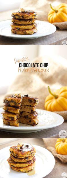 Chocolate Chip Pumpkin Protein Pancakes #glutenfree #dairyfree #paleo