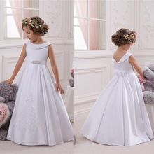 White Flower Girl's Dresses 2016 A Line Appliques Beads Floor Length Satin Bow Girl's Pageant Gowns For Little Girls FL73(China (Mainland))