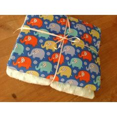 Michael Miller Mini Elephants in blue & lemon plush