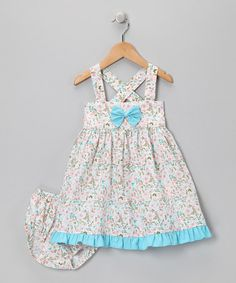 Take a look at this Aqua Crisscross Bow Dress - Infant & Toddler by Fantaisie Kids on #zulily today!