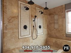 Stone Tile Shower Remodel & Delta Shower System