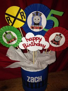 Thomas the Train Centerpiece. Find us on Facebook, Baby La La's Craft Bowtique