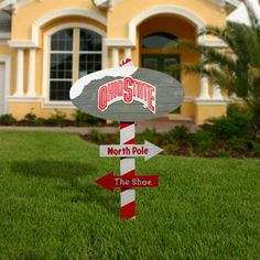 Ohio State Buckeyes Wooden North Pole Sign - Scarlet/Gray