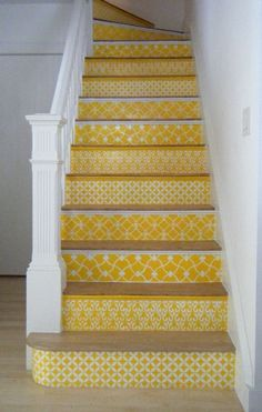 yellow pattern stairs via livelikeyou  Shame we are having carpet :( Totally love this but with green colours