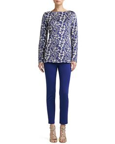 Metallic Rose Floral Jacquard Knit Bateau Neck Tunic & Stretch Milano Knit Alexa Pants  by St. John Collection at Neiman Marcus.