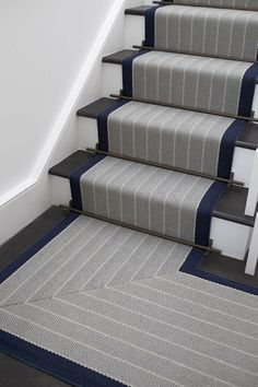 Designers and Makers of unique stripe runners, rugs and fabrics in natural fibres. Simply Luxury for Modern Living Carpet Staircase, Staircase Runner, Stair Runners, Hallway Carpet Runners, Flur Design, Dado Rail, Staircase Makeover, Hallway Designs, Modern Stairs