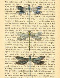 Vintage Dragonfly Illustration Print on vintage antique book page by Larks Eye Design, $10.00