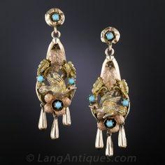 Victorian Bird Motif Drop Earrings