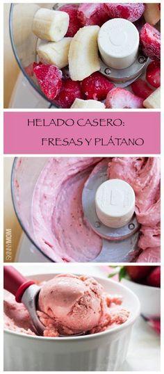 Súper fácil de preparar! tu propio HELADO CASERO! Solo debes congelar las fresas y plátano ya cortados y luego lo pasas por la licuadora añadiendo una tarrina de yogur natural para darle cremosidad. Queda como el helado artesanal de las heladerias!!!!!!