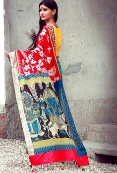 Gorgeous handwoven and handpainted kalamkari sari/saree from select craftsmen of India!