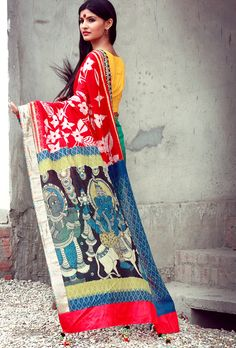 Gorgeous handwoven and handpainted kalamkari sari/saree from select craftsmen of India!