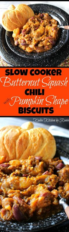 Slow Cooker Butternut Squash Chili with Pumpkin Shaped Biscuits ~ With all the colors and flavors of fall, this recipe is sure to warm your heart, delight your taste buds, and tickle your fancy.