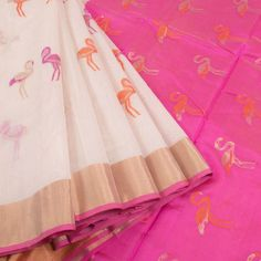 Marm White Handwoven Chanderi Silk Cotton Saree With Ganga Jamuna Border & Crane Motifs 10007932 - profile - AVISHYA.COM