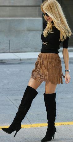 #winter #fashion /  Black Top / Brown Fringe Skirt / Black OTK Boots