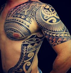 Polynesian Chest Tattoo 65