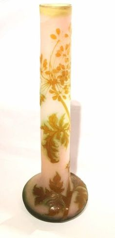 SIGNED GALLE CAMEO FLUTED GLASS VASE.