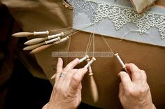 bobbin pin lace -'Merletto a tombolo' Pillow lace or Bobbin Lace, is created using 100% cotton thread