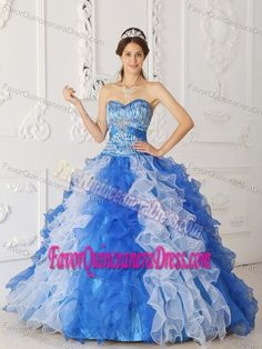 Sweetheart Blue and White Organza Quinceanera Dresses with Ruffles and Beading