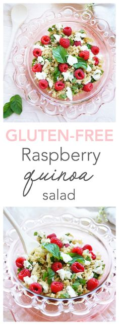 A healthy and light quinoa salad loaded with raspberries, basil, goat cheese and a light balsamic dressing. A perfect summer salad that's gluten-free and vegetarian! | Haute & Healthy Living