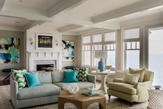 Coastal living room, beach interiors, pop of color, aqua  Living  Coastal by Jennifer Palumbo Inc
