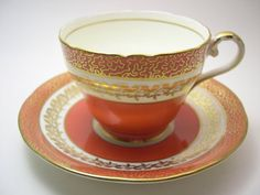 Aynsley Tea Cup and Saucer  Aynsley Orange and by BeadsbyVince
