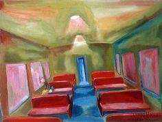 solo en el vagon, acrylic on canvas, 50 x 65 cm, 2002. Venta de pinturas sobre trenes. Paintings of trains for sale. venda de pinturas de trens.