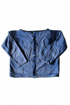 German vintage remade work jacket/changed size/patchwork/for women/faded blue cotton/256
