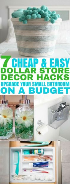 Upgrade your small bathroom with these easy dollar store decor hacks. Great for decorating on a budget! | Dollar Store Hacks | Bathroom Decor | bathroom decorating | #dollarstoredecor #dollarstorehacks #bathroomdecor