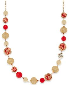 Style & Co. Gold-Tone Beaded Necklace, Only at Macy's