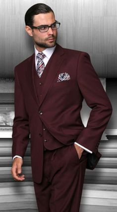 SKU#PNR73 2 Button Vested 3 Piece Suits Mens 3 Piece Regular Fit Burgundy ~ Wine ~ Maroon suit