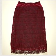 Betsey Johnson lace pencil skirt Gorgeous Betsey Johnson lace pencil skirt. No zippers elastic waist so beyond comfortable. Stunning vintage look. Wear with tshirt and biker jacket or a corset.  So versatile ✨ no stains  Betsey Johnson Skirts Pencil