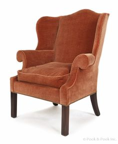 Philadelphia Chippendale mahogany easy chair, ca. 1780, with molded square legs. Provenance: Israel Sack. Estimated: $2000 - $3000 @Pook &