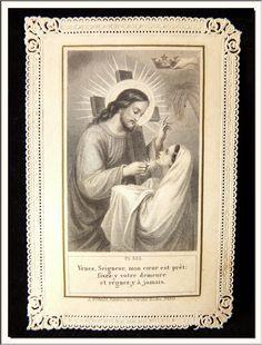 Vintage Holy Cards, St Therese, Heart Of Jesus, Mary And Jesus, Orisha, Catholic Art, First Holy Communion, Prayer Cards, Sacred Heart
