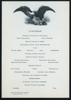 Train car dinner menu