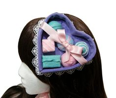 Pretty Pastel Chocolates This is a lavender velvet pastel chocolate candy box hat designed and handmade by me. It is made of a lavender Pretty Pastel, Pastel Pink, Red Hat Ladies, Hair Toppers, My Birthday Cake, Ribbon Wrap, Gift Bows, Red Hats, Gothic Lolita
