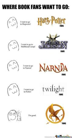 Where book fans go~ Harry Potter, Percy Jackson, Narnia, Twilight, Hunger Games