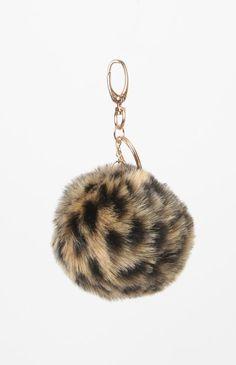 Cheetah Faux Fur Pom-Pom Keychain