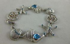 .925 Sterling Silver Sea-life Bracelet w SandDollars-Starfish-Couch-Blue Topaz