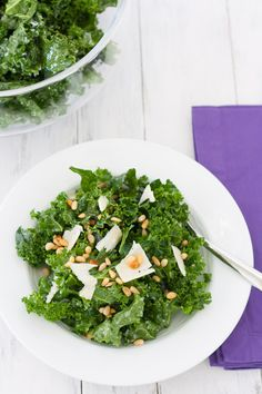 Lemon-Parmesan Kale Salad with Pine Nuts - a delicious kale salad that is even better on the second day! | Kristine's Kitchen