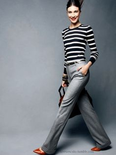 cuffed trouser + striped top.  Love the gray trouser with the black and white stripes!