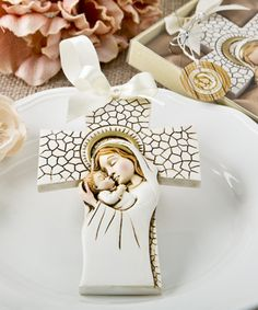 Madonna and Child hanging cross ornament - A beautiful gift for a person of the Christian Faith to hang in a special place in their home. http://www.favorfavorbaby.com/p-8691.htm