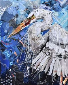 """""""White Heron"""" made from torn and cut bits of magazines."""
