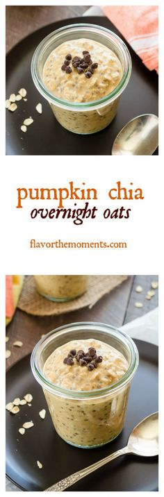 Pumpkin Chia Overnight Oats are creamy overnight oats with chia seeds to make them even more nutritious! They're the perfect healthy grab 'n go breakfast! Breakfast And Brunch, Best Breakfast, Pumpkin Recipes, Fall Recipes, Pumpkin Pumpkin, Oatmeal Recipes, Quick Recipes, Brunch Recipes, Breakfast Recipes