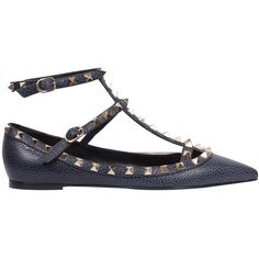 Valentino Garavani Rockstud leather flat ($818) ❤ liked on Polyvore featuring shoes, flats, blue, studded flats, pointed flat shoes, pointed flats, blue flat shoes and summer flats