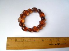 brown acrylic beaded stretchy bracelet