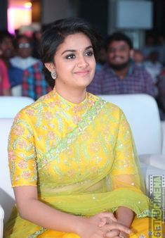 Beautiful Keerthy Suresh in Yellow Saree at Remo Audio ReleaseNet green n blouse Saree Blouse Neck Designs, Fancy Blouse Designs, Saree Blouse Patterns, Bridal Blouse Designs, Traditional Blouse Designs, Sari Bluse, Stylish Blouse Design, Fashion Designer, Designer Wear
