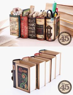 Desk organizers made from book boxes and Graphics 45 scrap booking papers. by Cl… Desk organizers made from book boxes and Graphics 45 scrap booking papers. Diy And Crafts, Arts And Crafts, Paper Crafts, Cardboard Crafts, Deco Harry Potter, Old Book Crafts, Craft Books, Ideias Diy, Old Books