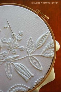 I've done other types of white work but I've not tried mountmellick yet. Mountmellick Embroidery from Yvette Stanton #embroidery #whitework