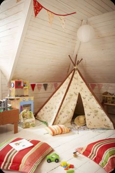 Room including teepee ideas for Arya... a few years down the road.
