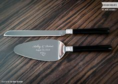 Personalized Vera Wang With Love Noir Wedding Cake Knife And Server Set